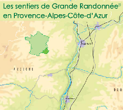 Carte des Sentiers de Grande Randonnée en région SUD